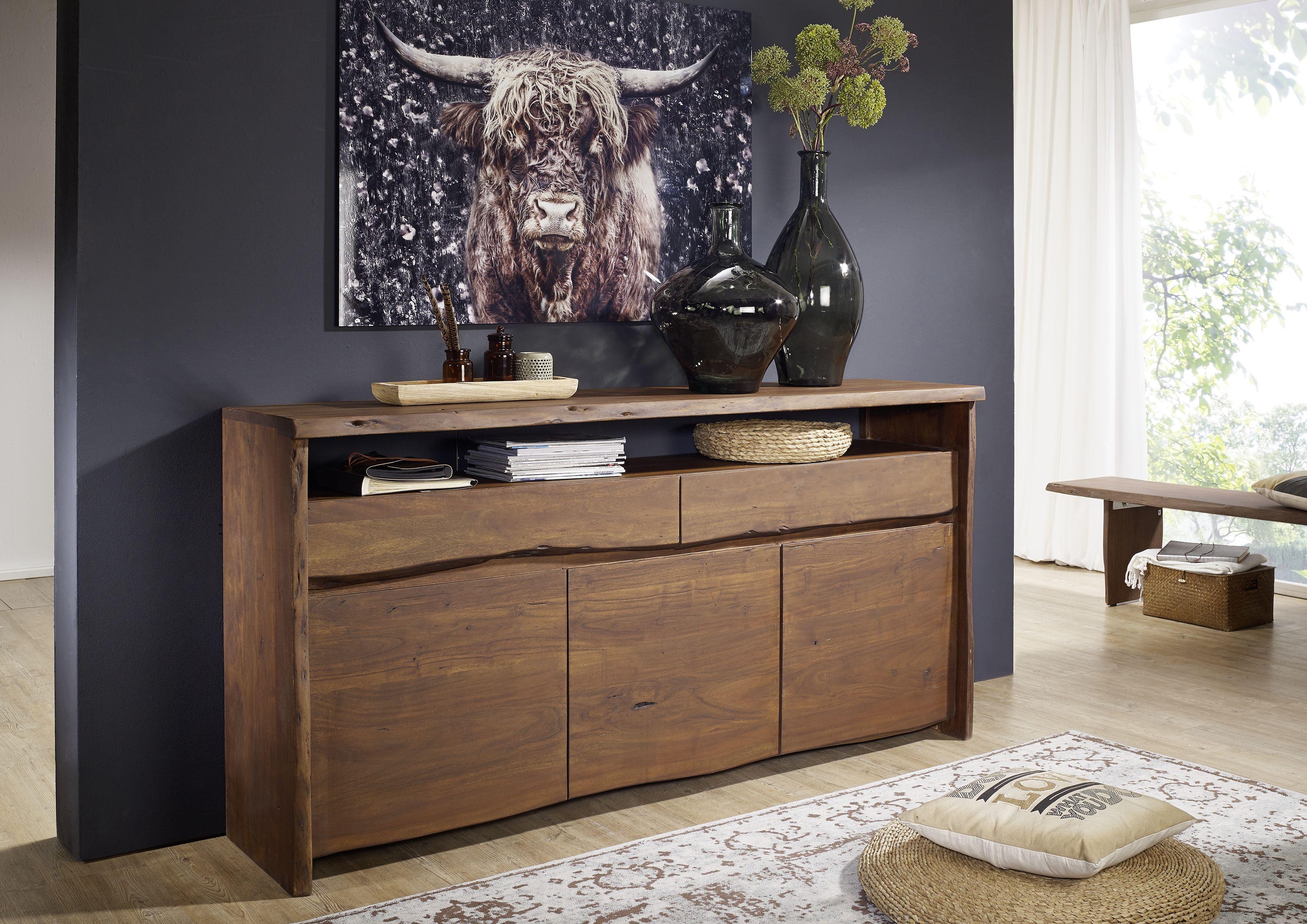 Wohnzimmer Kommode ~ Kommode aus akazienholz mit naturkantenoptik live edge