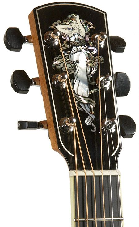 One Of The Masterful Headstock Designs That Are A Trademark Of Canada S Larrivee Guitar Company Guitar Inlay Luthier Guitar Guitar