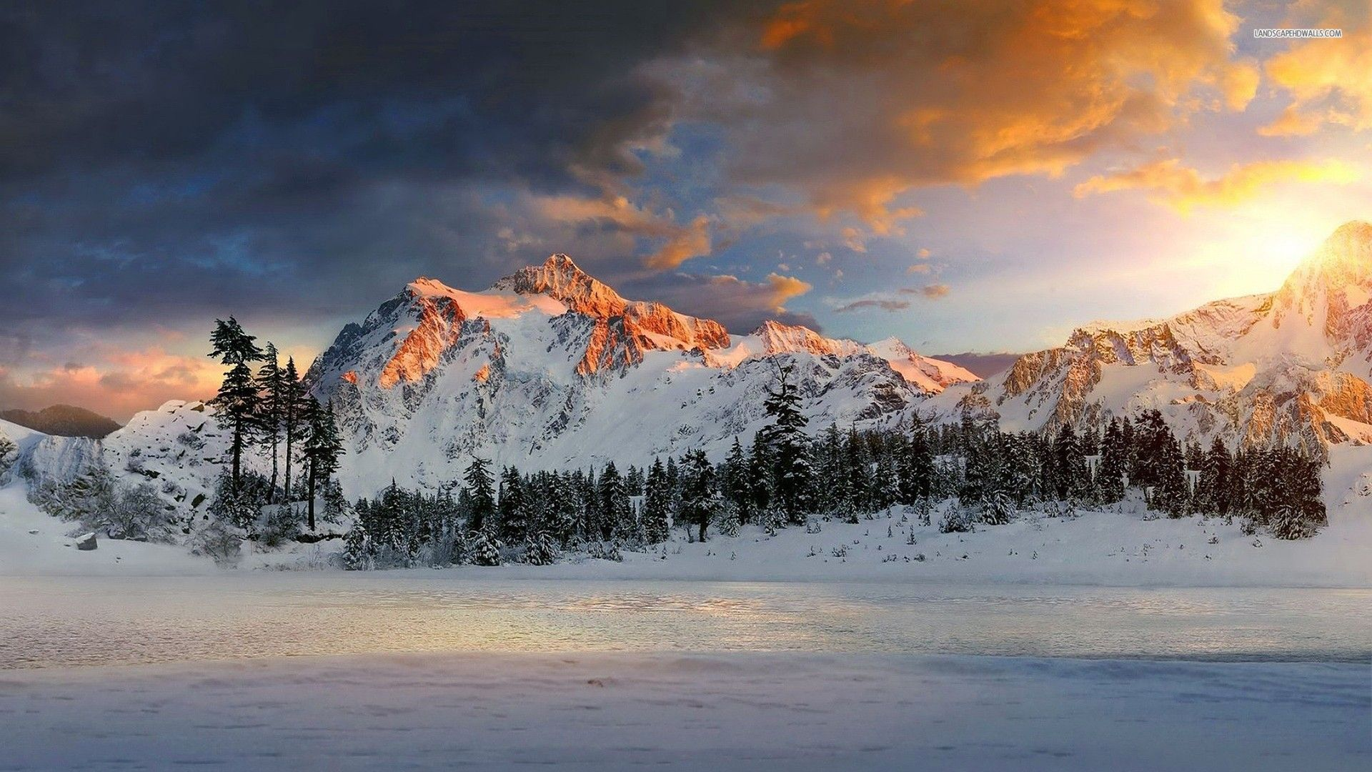 Snow Mountains Sunset Wallpaper Snowy Mountain Field