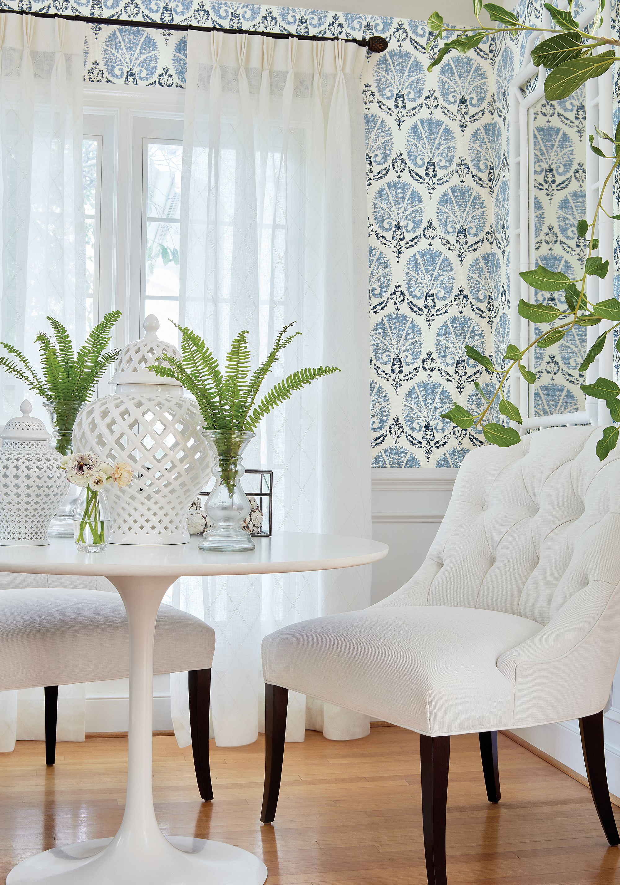 Belaire Chair in Beach ber woven fabric in White from Thibaut