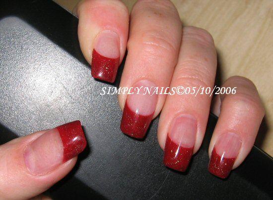 Acrylic (Gel) red french tip nails :) #wedding #nails - Acrylic (Gel) Red French Tip Nails :) #wedding #nails Mani-pedi