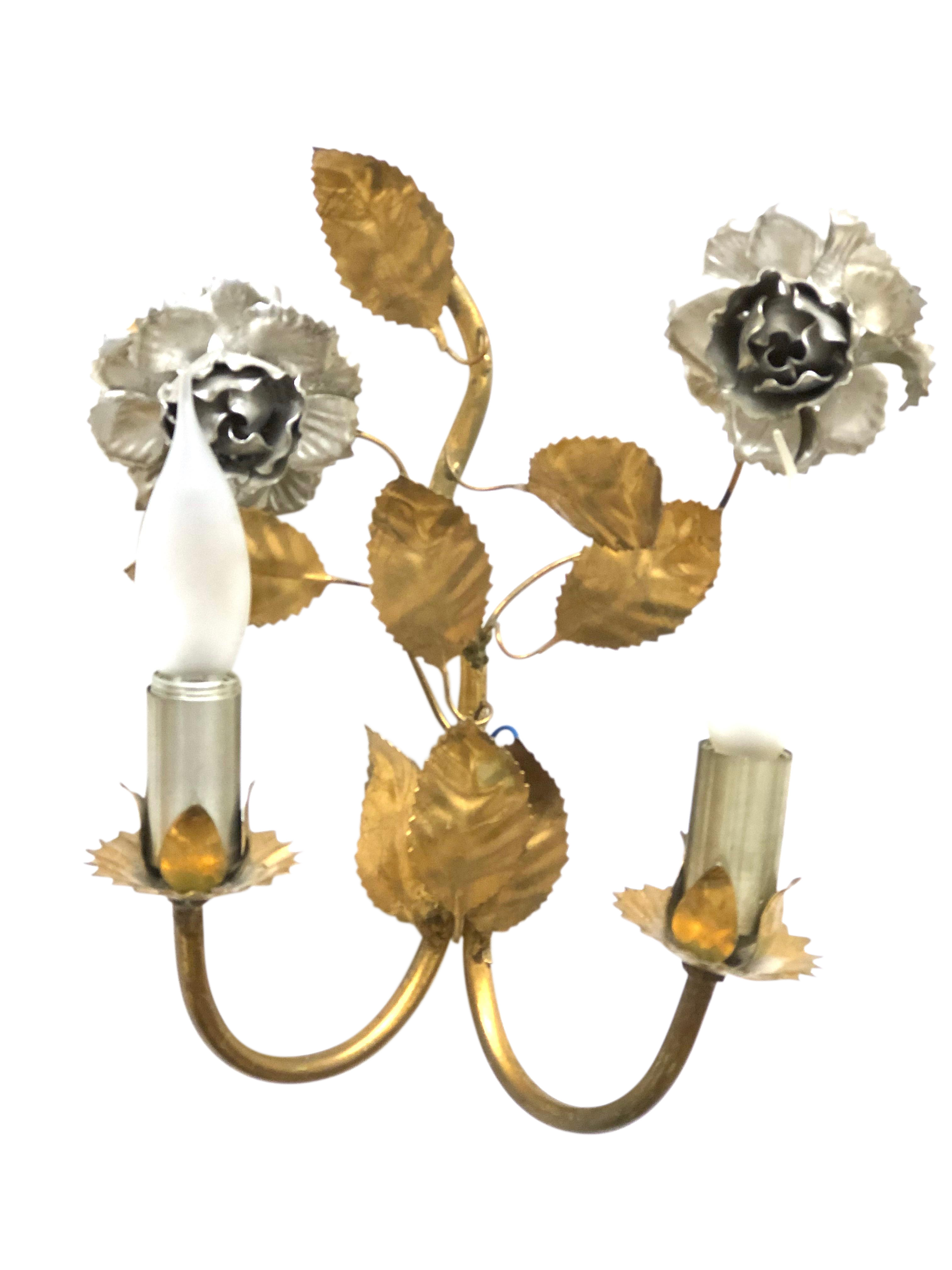 1960s Vintage Florentine Gilded Flower & Leaf Sconce Lamp ... on Candle Wall Sconces With Flowers id=48359