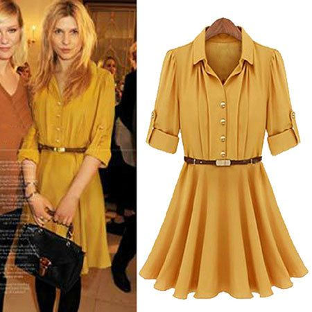 Yellow Roll Up Short Sleeve Pleated Turndown Dress