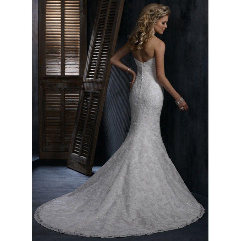 Long white lace wedding dress