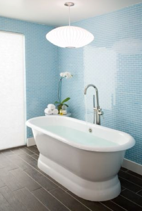 Light blue glass tiles from houzz squeaky clean 10 for Bathroom ideas light blue