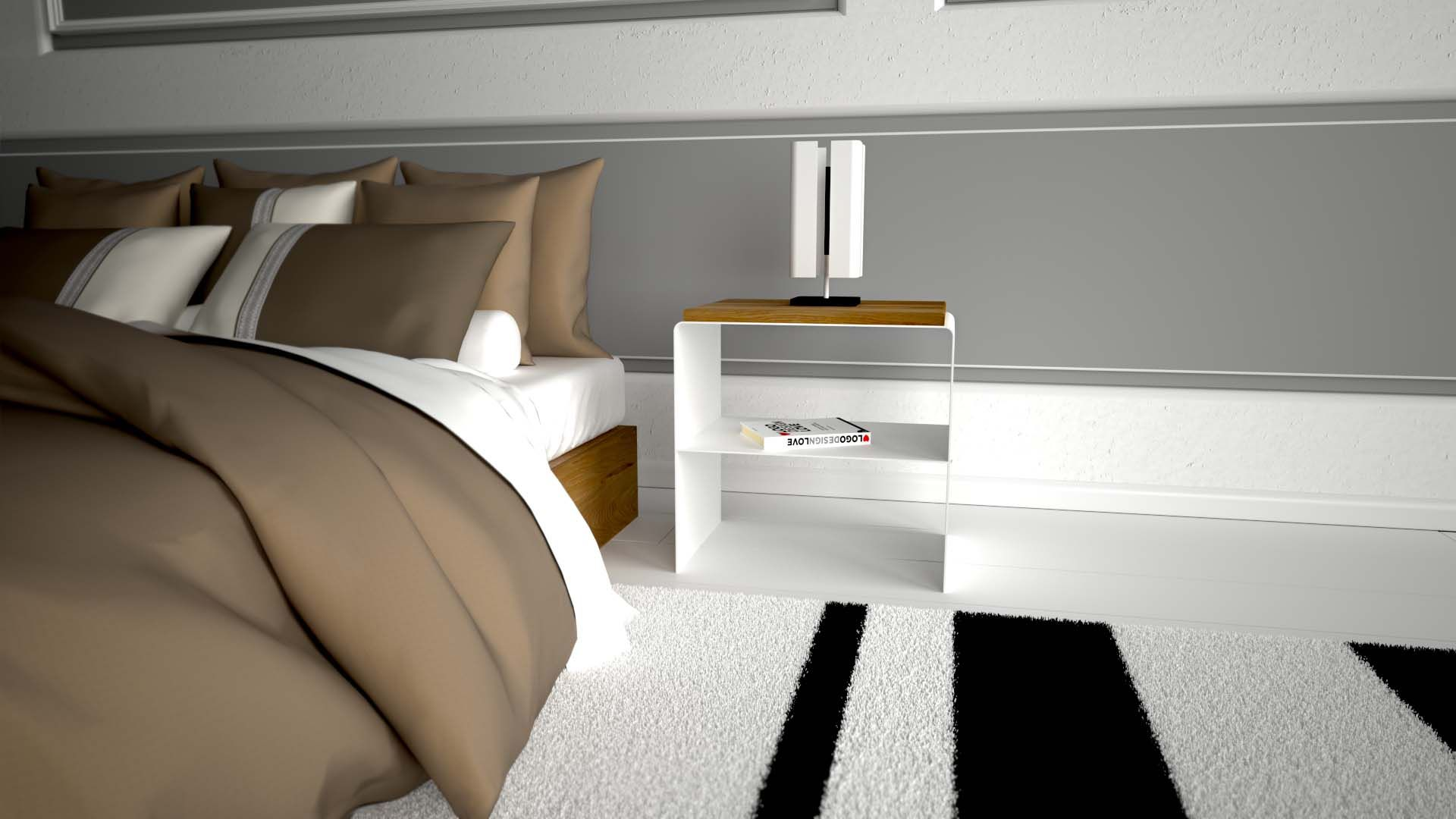 Design Nachttisch Modern Weiss Holz Metall Schlafzimmer Wohnzimmer