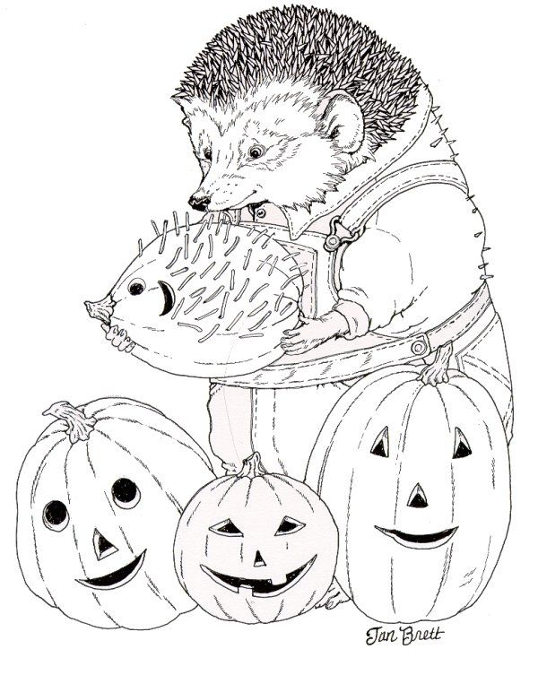 Hedgie Carves a Pumpkin website has tons of Jan Brett coloring and ...