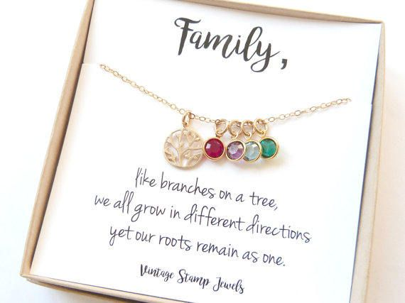 Mothers day Family Tree Necklace Wife Birthstone Gift  sc 1 st  Pinterest & Family Tree Necklace Motheru0027s Day Gift Wife Birthstone Gift ...