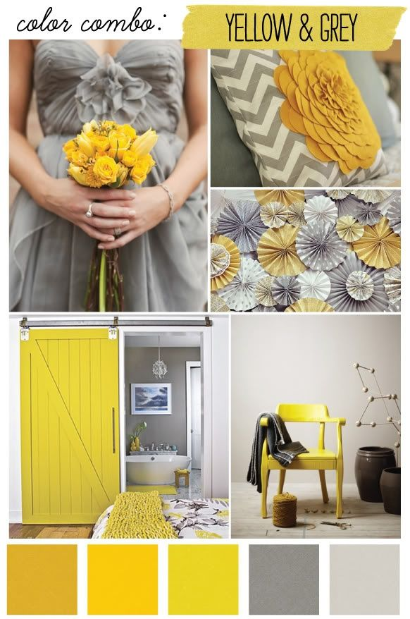 Bright Yellow And Grey Combination Farbe Gelb Farb Kombis