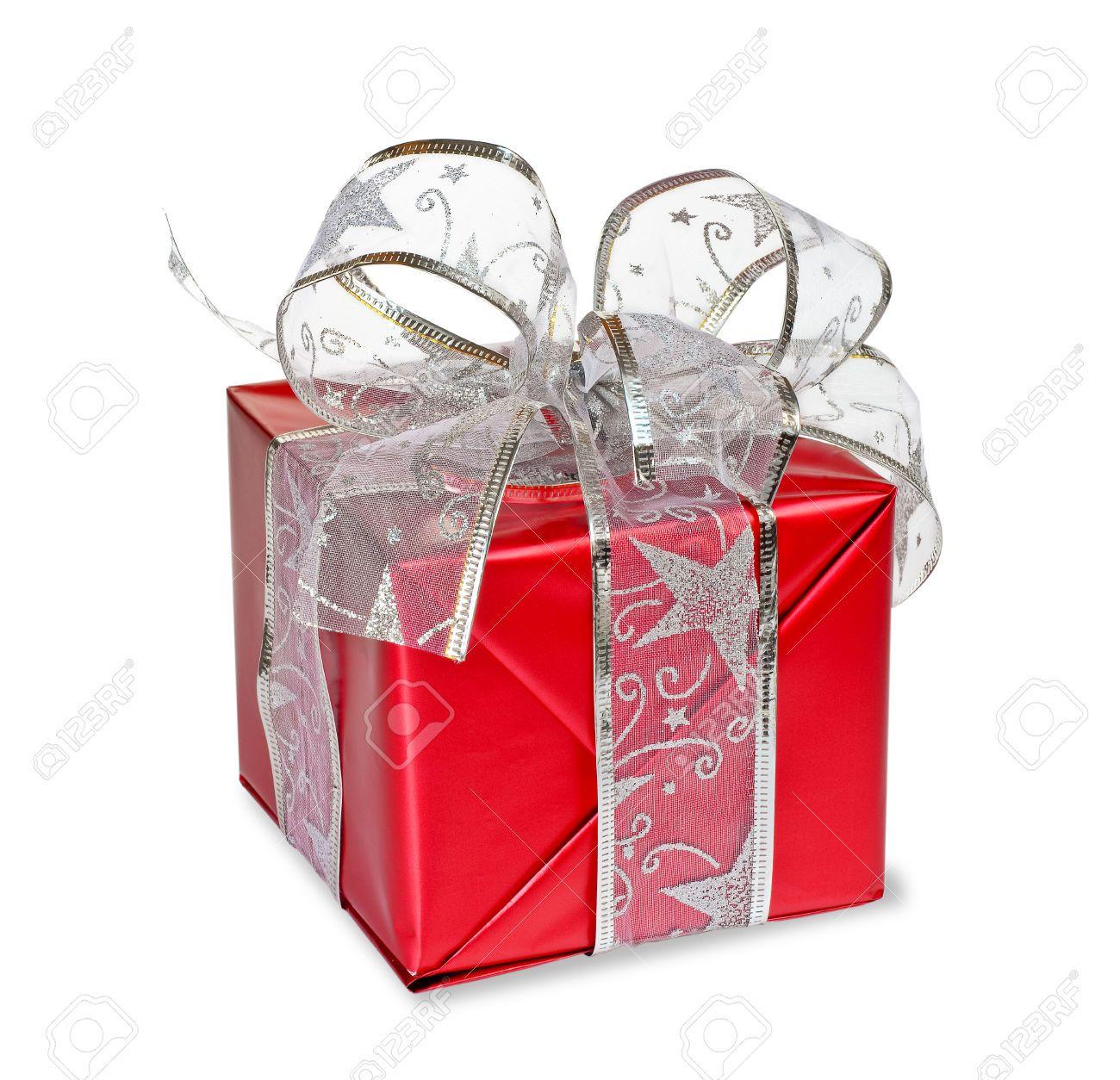 Boîte De Cadeau Avec Un Ruban Rouge Noué Argent Sur Fond Blanc Banque D'Images Et Photos Libres De Droits. Image 26283242.