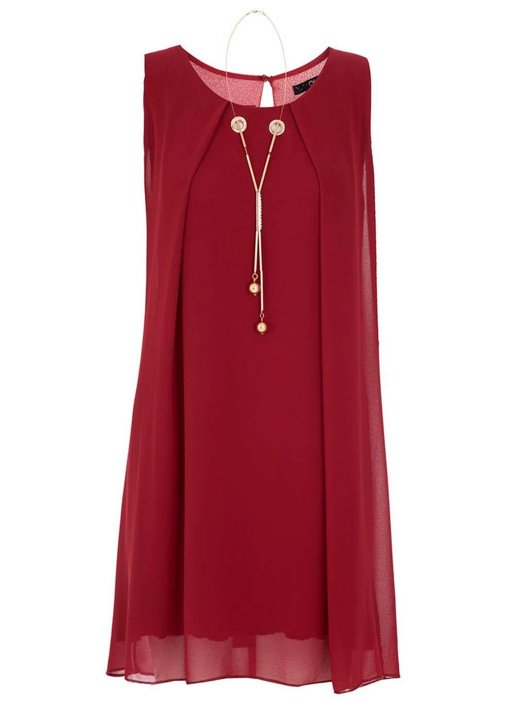 Womens quiz wine red chiffon necklace trapeze dress wine red chiffon