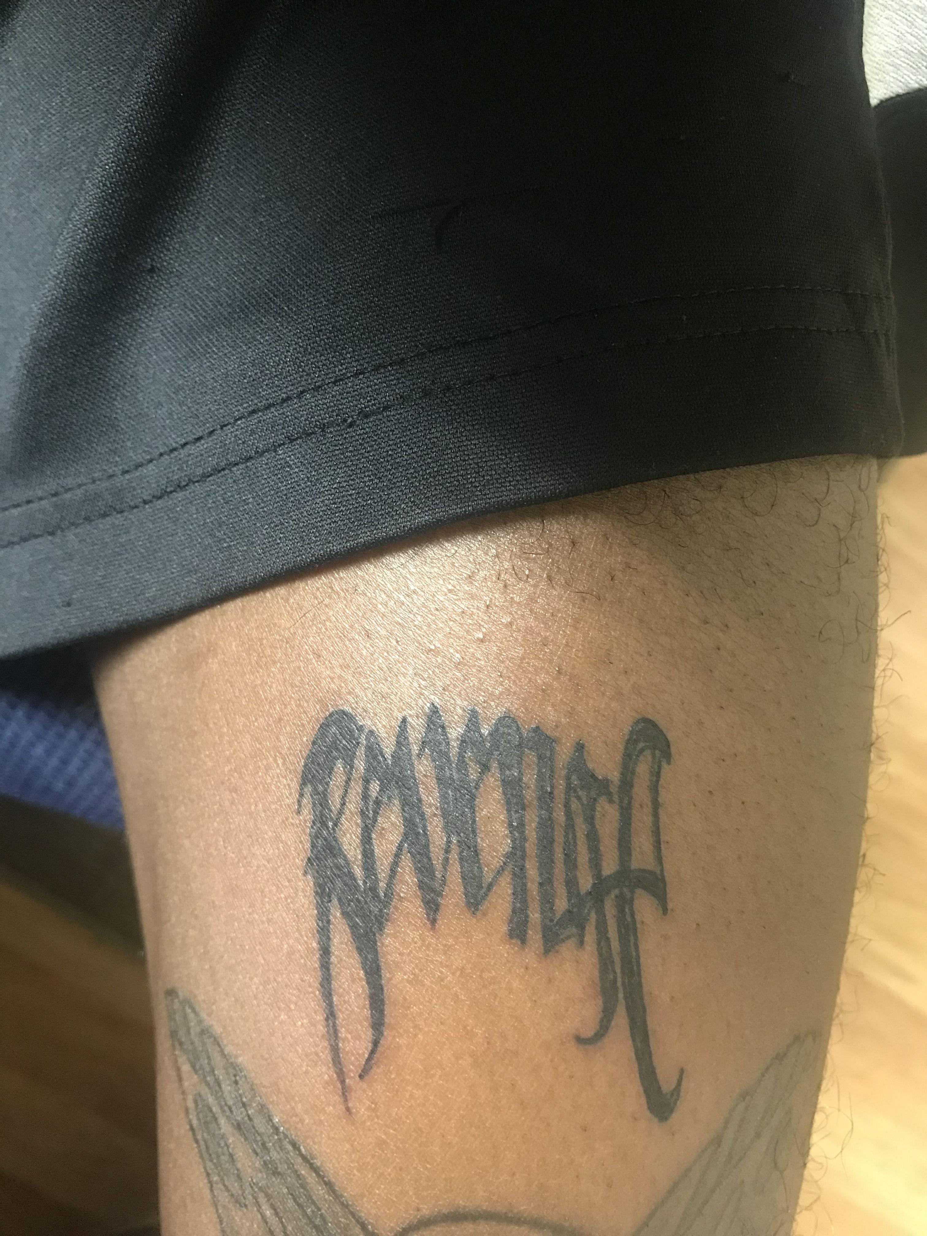 Revenge Tattoo Show : revenge, tattoo, Revenge, Tattoos,, Tattoo, Lettering,, Forearm, Tattoos