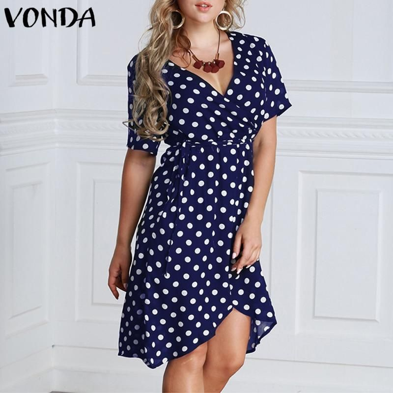4effc04e28465 VONDA Women A-line Dress 2019 Summer Pregnant Casual Sexy V Neck Short  Sleeve High