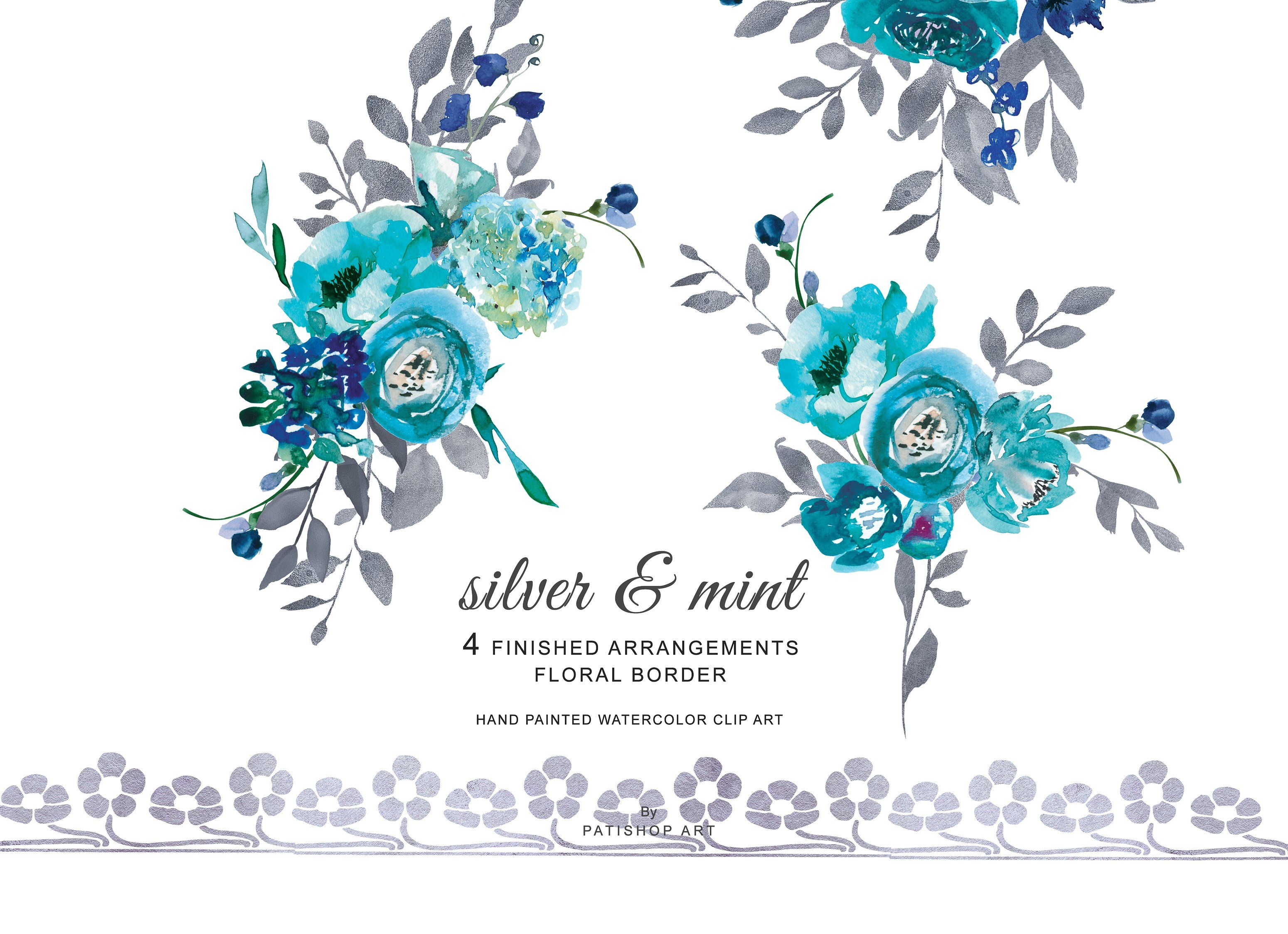 Watercolor Silver Floral Drawing Flower Border Clipart Turquoise Watercolor