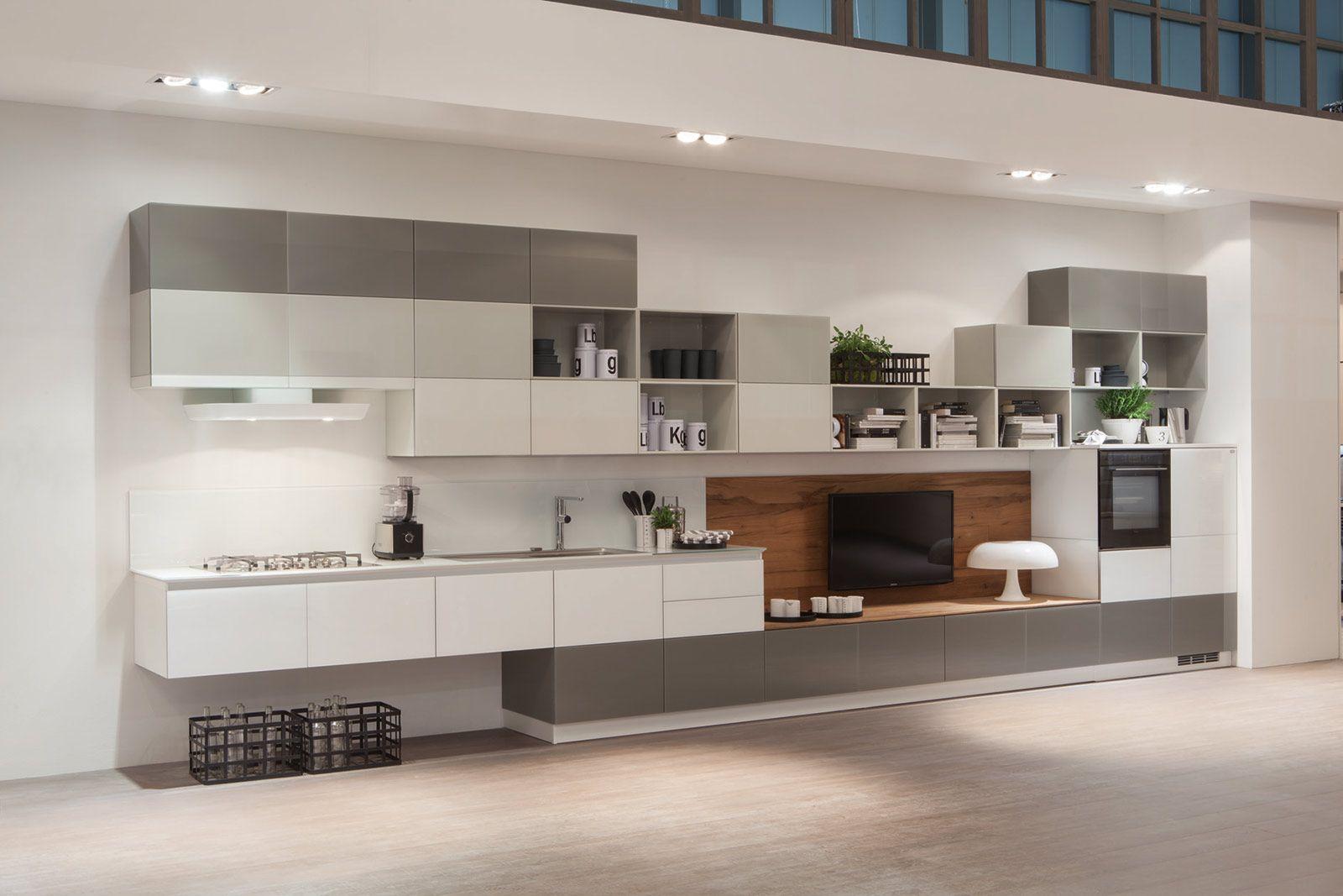 cucine con ante lisce. stile contemporaneo - cose di casa | tetrix ... - Cucine Bianche E Grigie Scavolini
