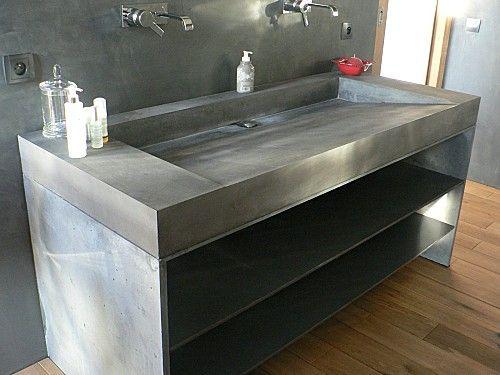 Plan vasque lavoir en Beton Buanderie Baños modernos, Baños et - Salle De Bain En Siporex