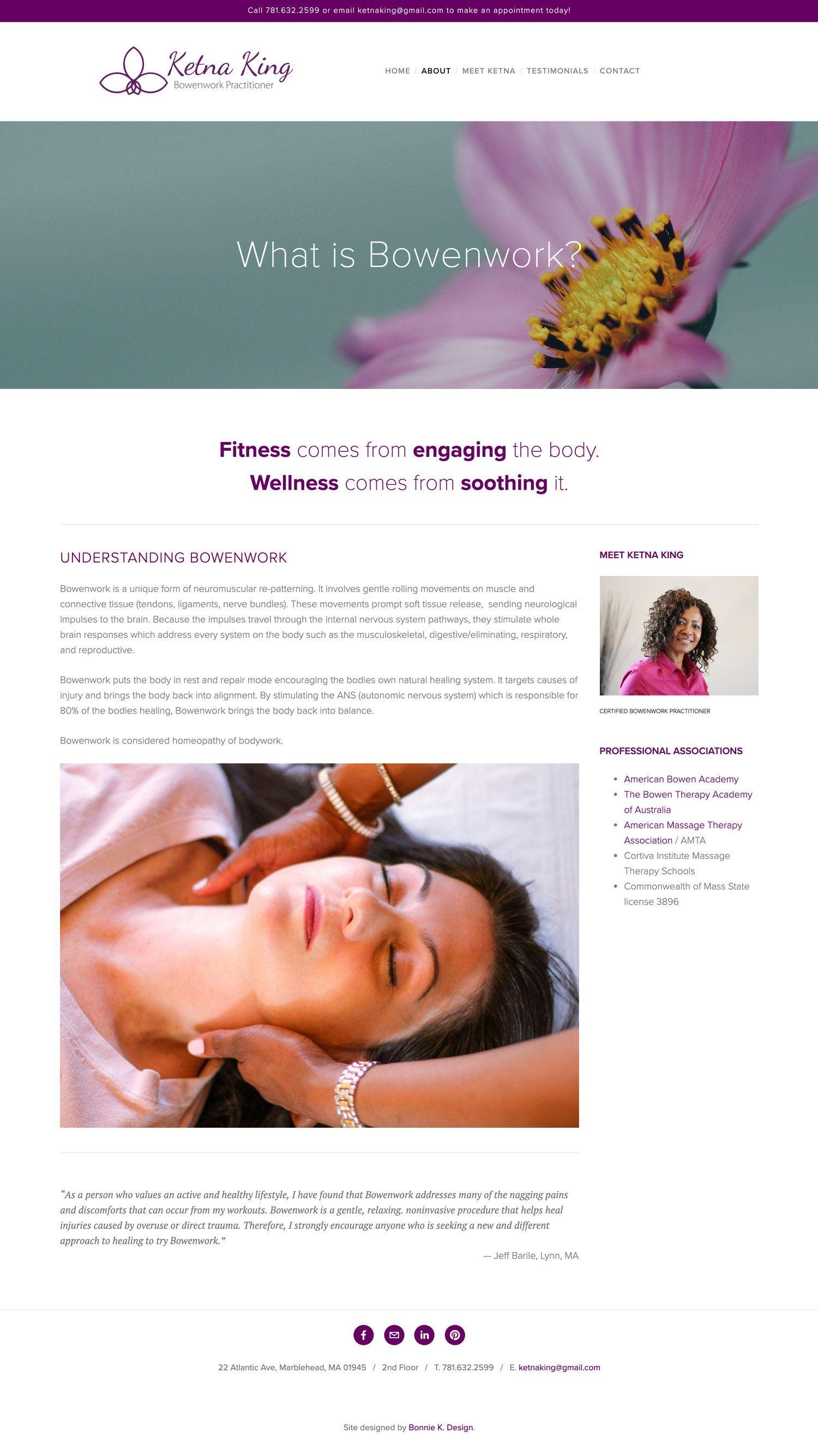 Massage therapist website wordpress website design