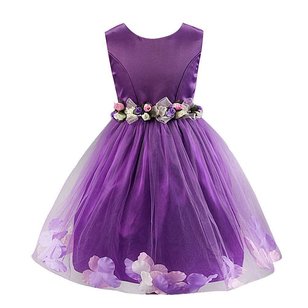 Robe de mariee enfant fille violet avec fleurs 6ans/120cm | Tenue de ...
