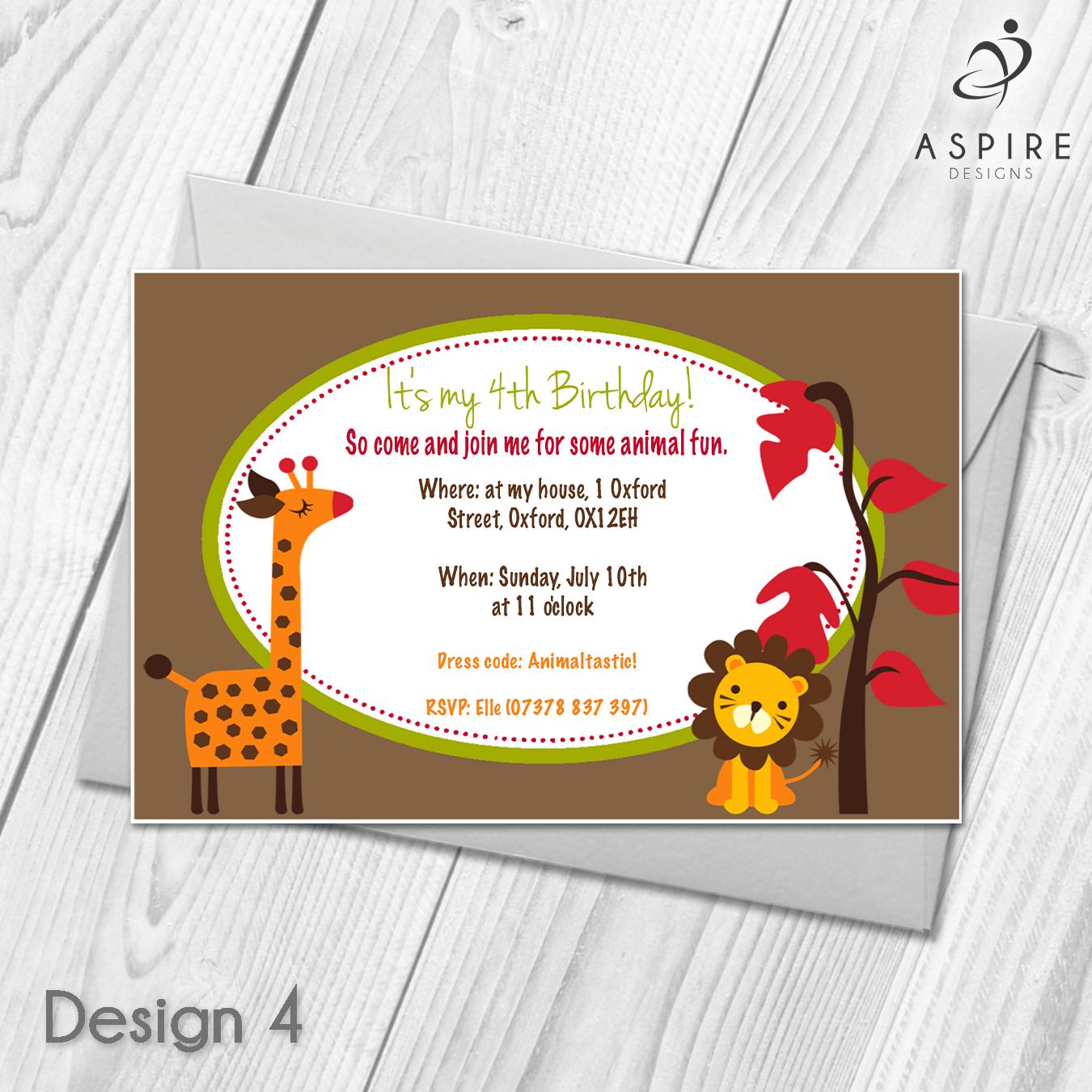 Personalised Animal Zoo Childrens Birthday Party Invitations & Envelopes