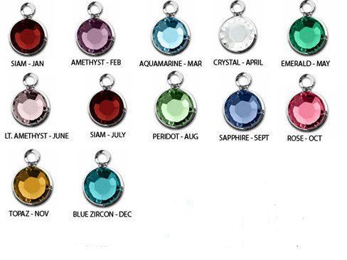 Swarovski Birthstone Charm Add On Crystal Charm Silver 6mm Mothers Birthstone Custom Personalized Jewelry Choose Bangle Bracelets With Charms Birthstone Necklace Birthstone Charms