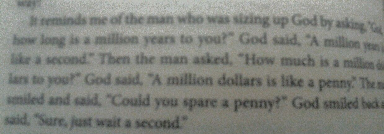 Read this in a book! Funny!