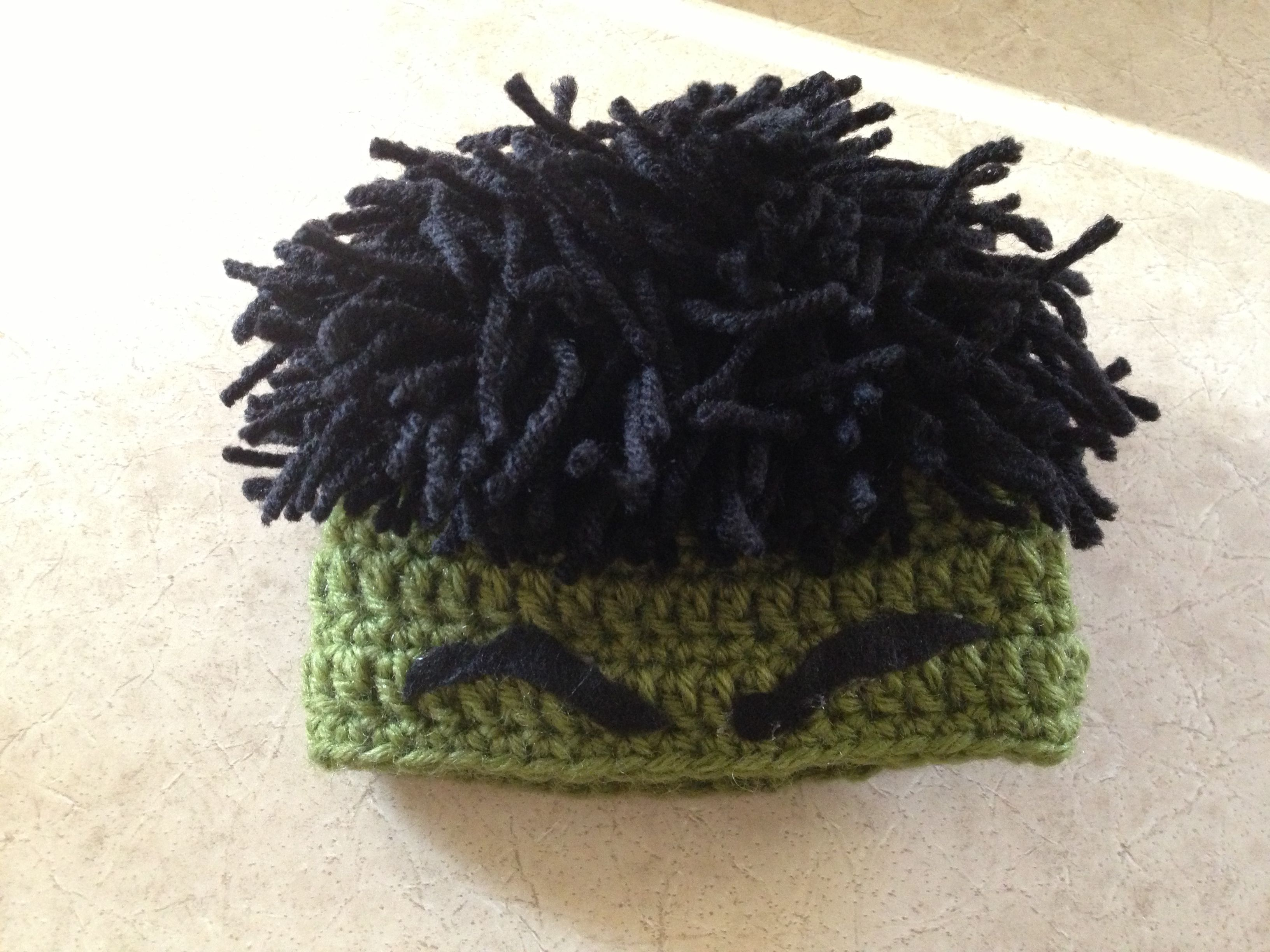 5037ba9a0be First try at a Hulk Hat! I used this hat pattern as the base