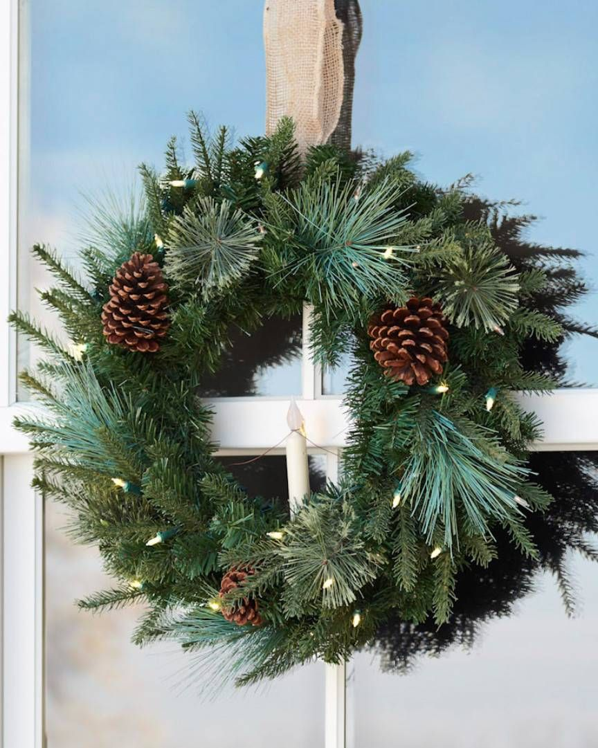 Bring Cheer To Your Home With Our Outdoor Safe Evergreen Foliage Designed Exclusively For Balsam Outdoor Christmas Decorations Christmas Wreaths Window Wreath