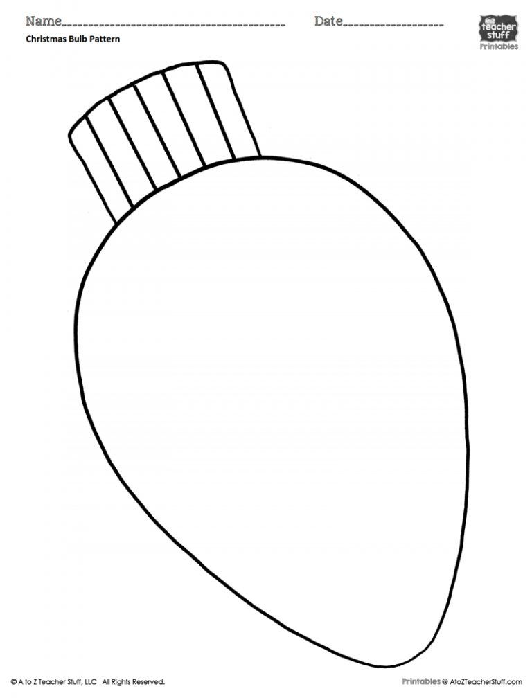 Light Bulb Coloring Page Christmas Light Bulb Coloring Page Free