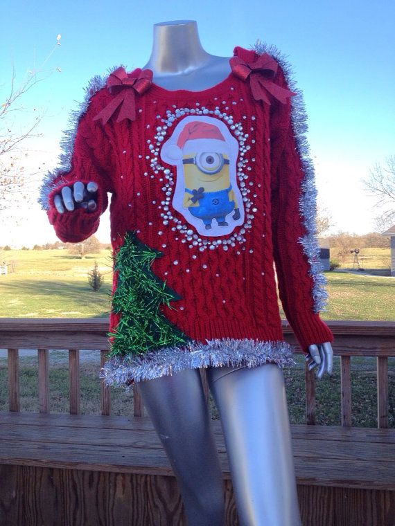 Boys Girls Christmas Kids Xmas Novelty 3 Minion SANTA knitted Sweater Jumper TOP