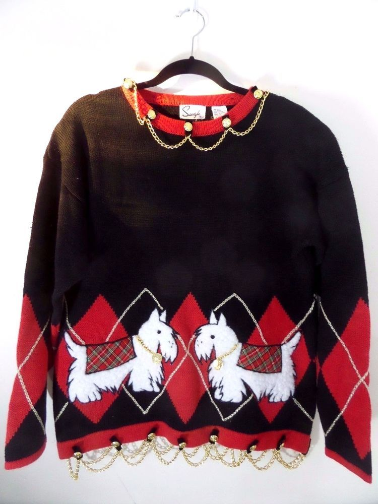 Vintage Sandylo Womens Christmas Sweater Scottie Dogs Red Black