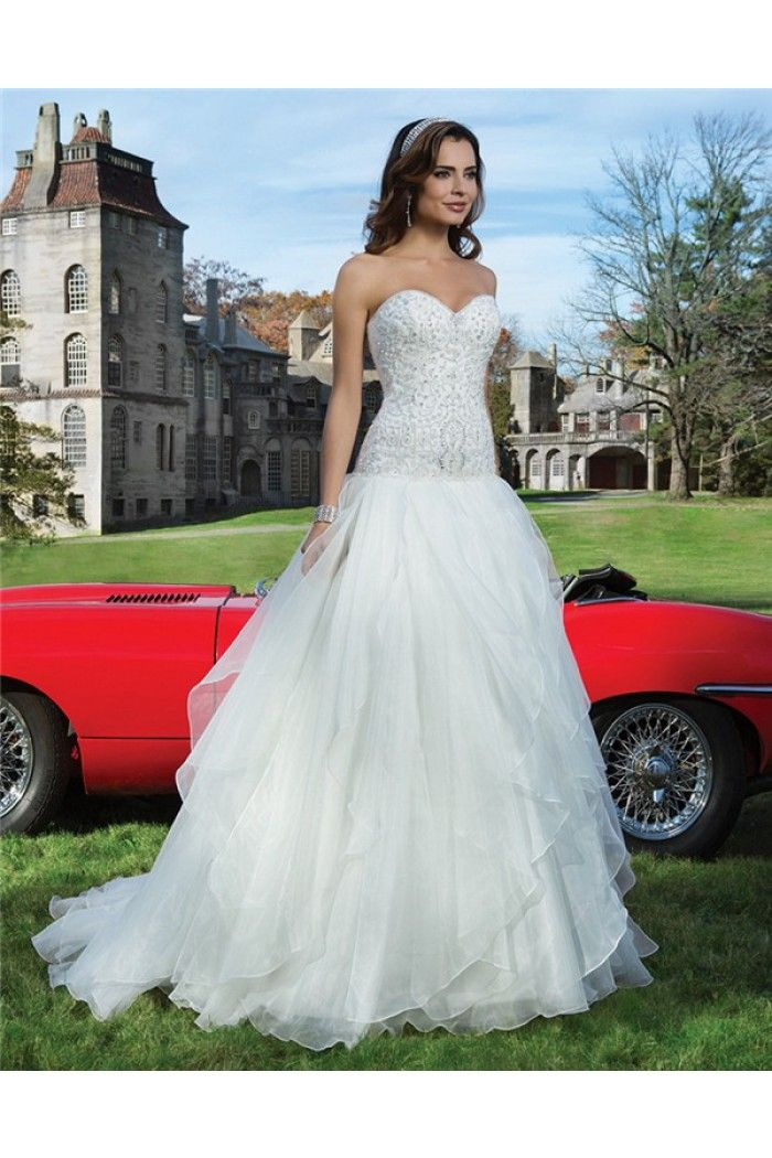 Ball Gown Strapless Sweetheart Drop Waist Tiered Organza Ruffle Wedding Dress Crystals Beads