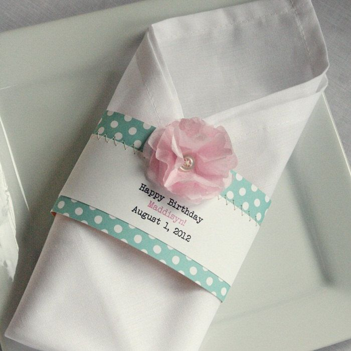 25 Birthday Baby Shower Or Wedding Napkin Ring Pink Tissue Paper Flower Button And Tiffany Blue