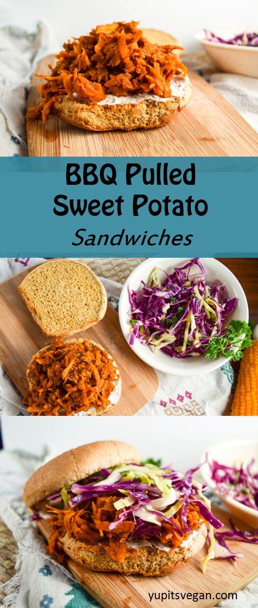 BBQ Pulled Sweet Potato Sandwiches   yupitsvegan.com. Shredded sweet potato braised in BBQ sauce makes for the perfect #vegan sandwich filling.