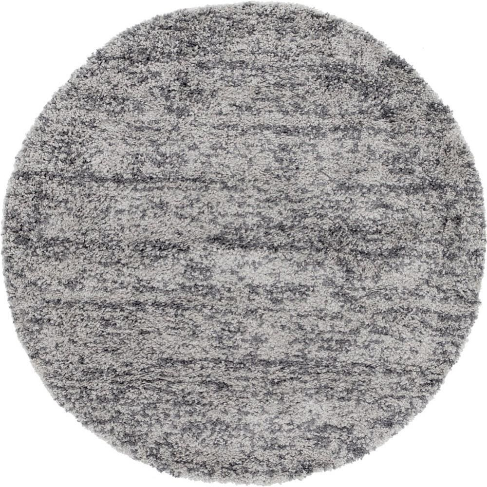 Unique Loom Hygge Shag Misty Gray 5 Ft X 5 Ft Round Rug 3143784