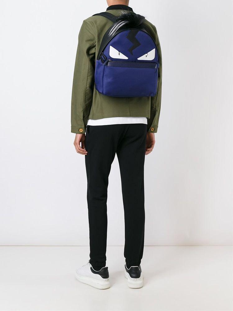 5979406f2790 FENDI BACKPACK BAG BUGS BACKPACK BLUE BLACK FOX FUR MONSTER EYES  7VZ0128FMF06HV  FENDI  Backpack