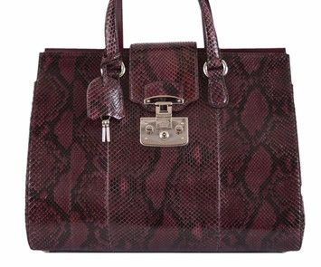 6648b3f5dee931 Gucci Wine Python Snake Large Lady Lock Structured Purple Satchel ...