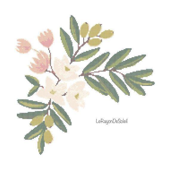 Pink flowers with olive branch modern cross stitch pattern frame pink flowers with olive branch modern cross stitch pattern frame decor tablecloth napkins tea mightylinksfo