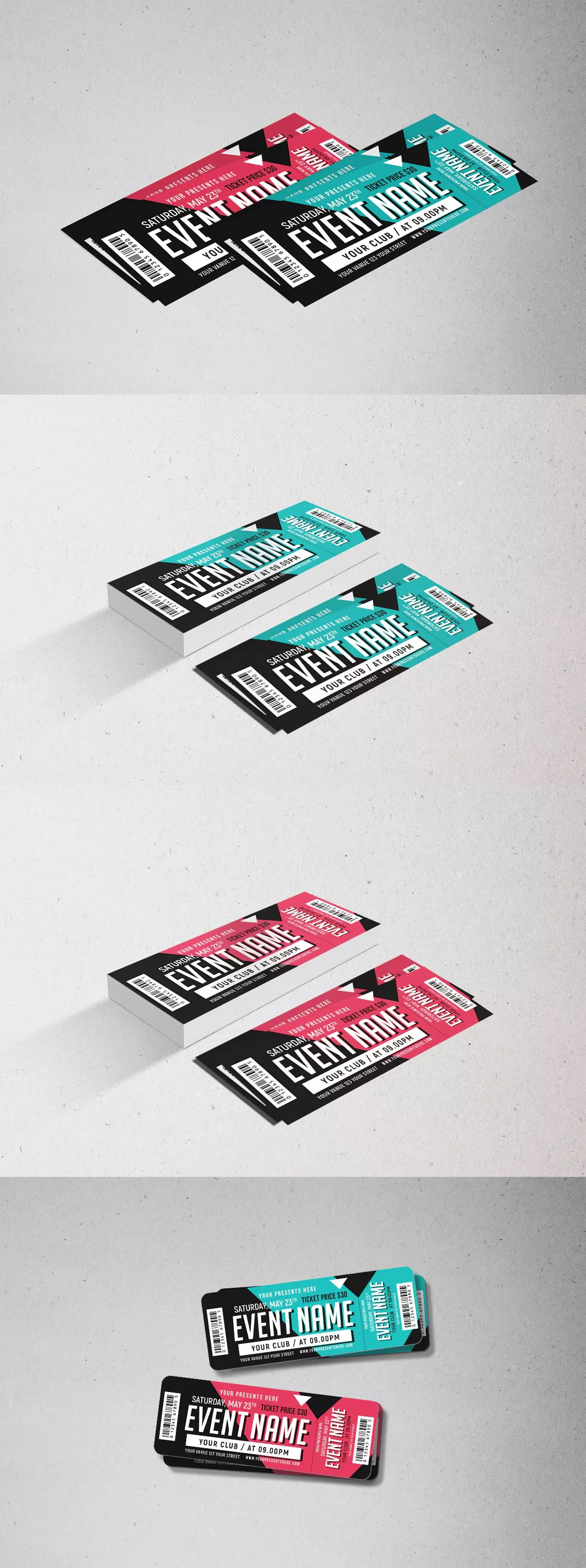 Event Ticket Template PSD Ticket Templates Pinterest Ticket - Event ticket template photoshop