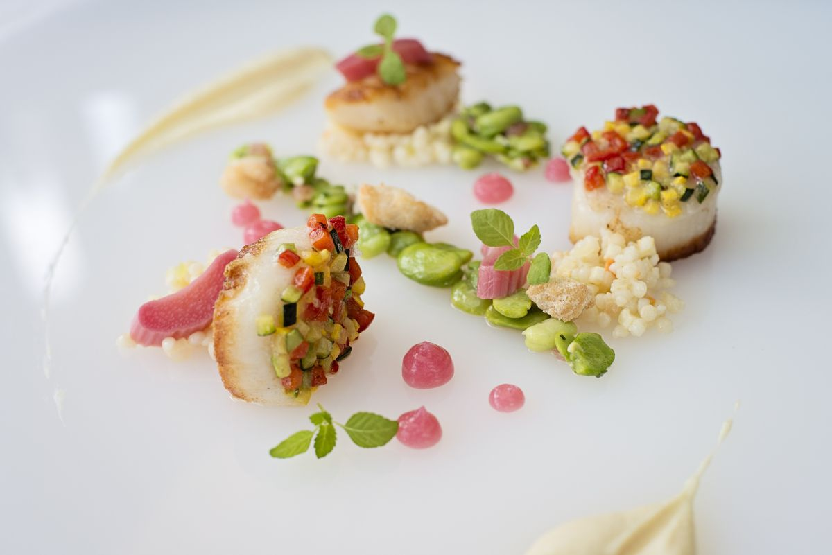 Spring Menu 2013 - Seared Scallops with Confit Duck Spring Cassoulet with Garlic Sausage #fearringtonhouse