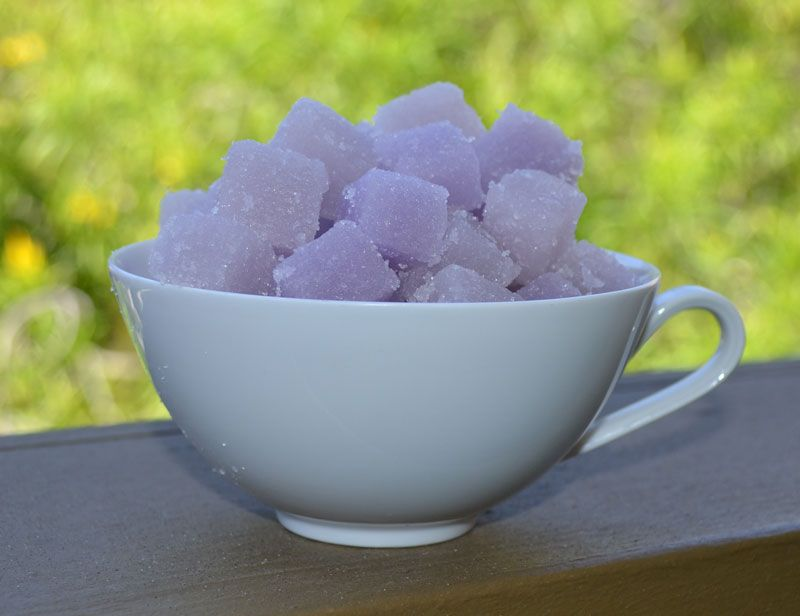 Sugar Cubes! A delightful exfoliating experience in a relaxing lavender scent.