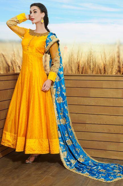Yellow Raw Silk Zardosi Embroidered Designer Salwars-SL8392