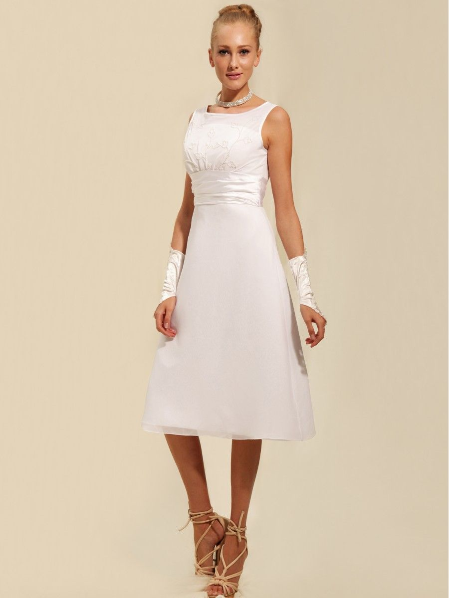 Modest Tea Length Short Little White Dress Read More: http://www ...