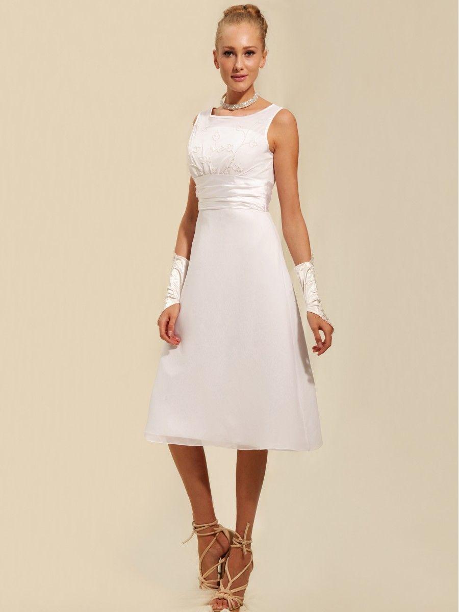 Modest Tea Length Short Little White Dress Read More: http://www ...