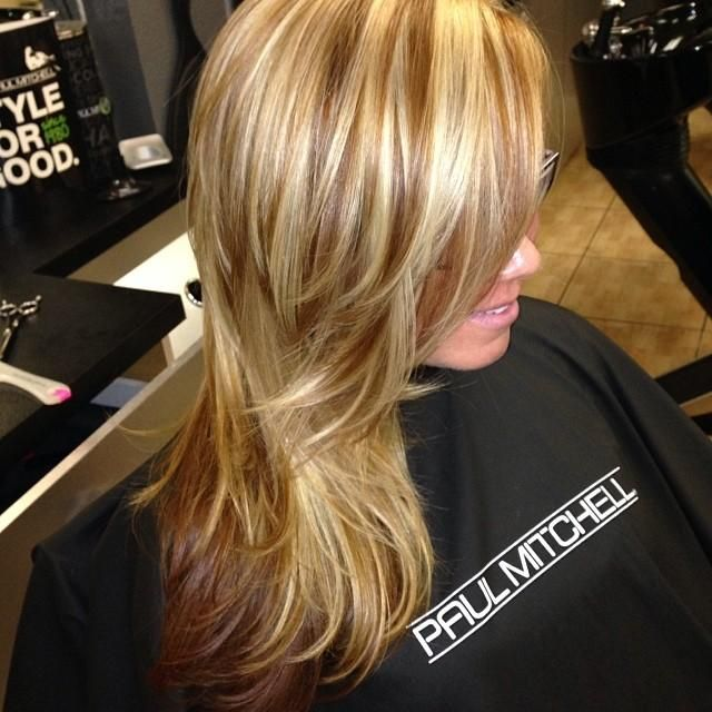 Caramel Blonde Highlights And Milk Chocolate Low Lights