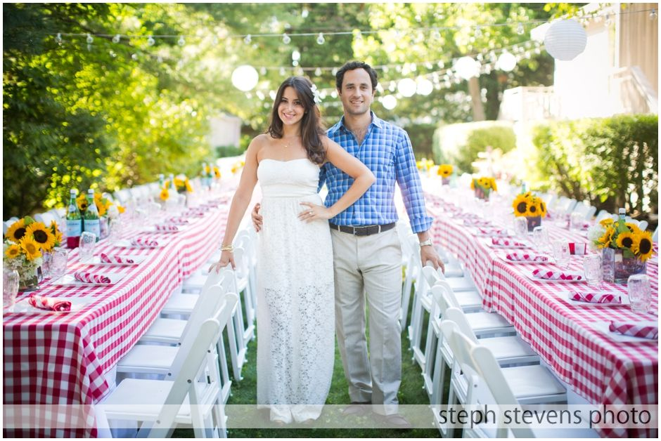 Backyard Engagement Party - love the table set up