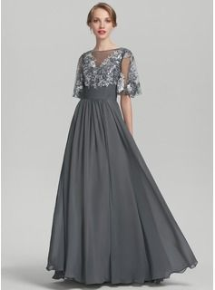 4c6692f715e0 A-Line Princess Scoop Neck Floor-Length Chiffon Sequined Mother of the Bride  Dress With Ruffle (008131963)