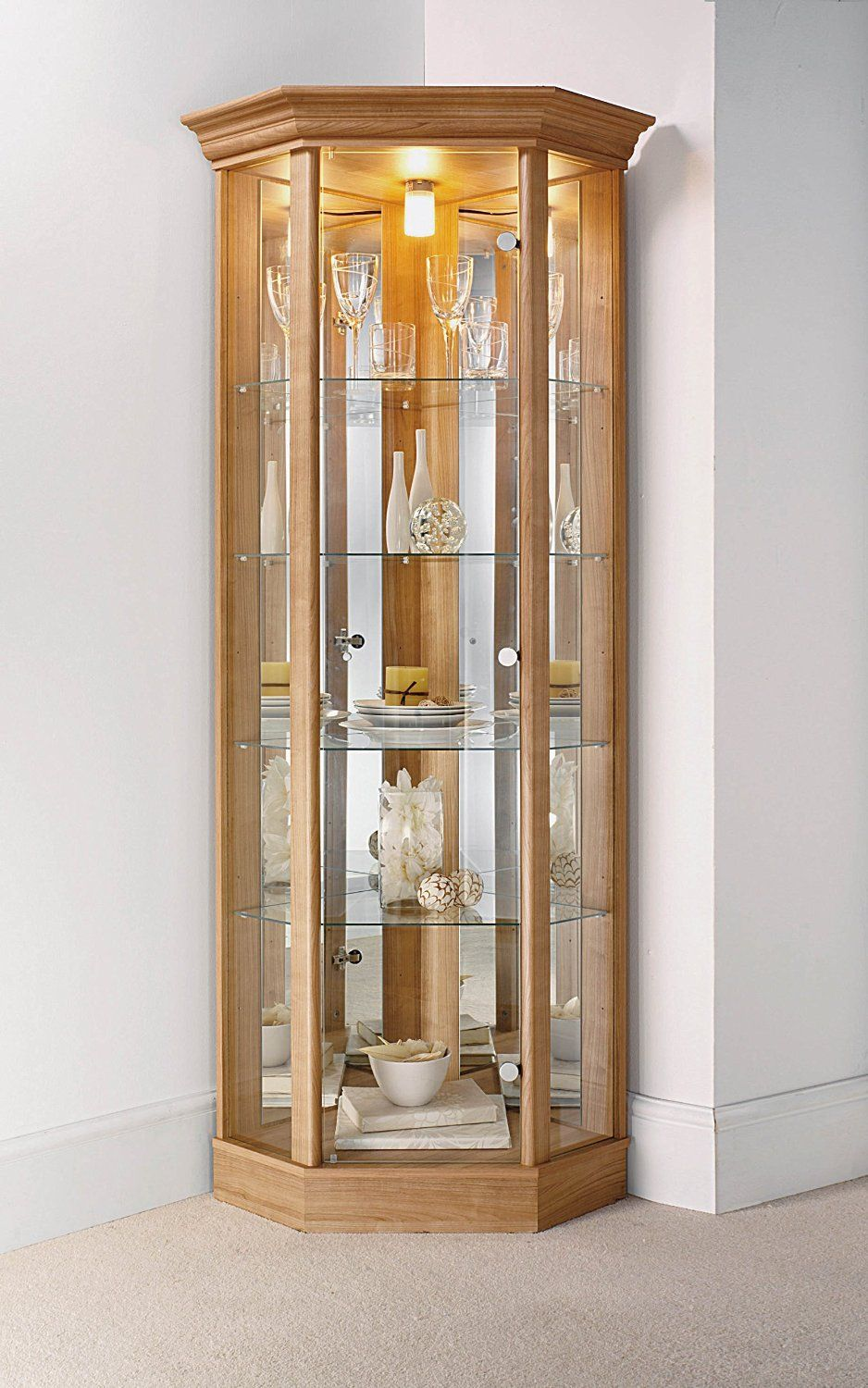 Corner Cabinet with Pelmet Glass Display Case Oak Dark Oak or Mahogany & Corner Cabinet with Pelmet Glass Display Case Oak Dark Oak or ...