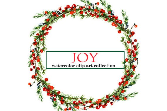 christmas watercolor clipart wreaths border floral clip art new year watercolor flowers winter wrea