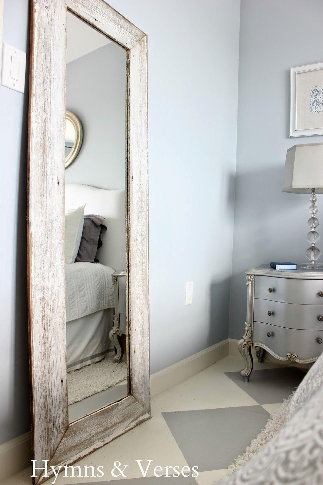 A $5 thrift mirror + old barn wood siding = tall floor mirror for my ...