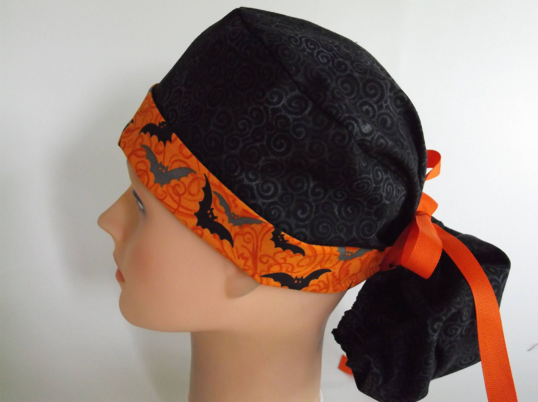 db83ead5843 Black Bats Ponytail - Womens lined surgical scrub cap
